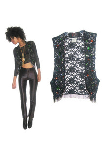 Vintage Vivienne Tam East Wind Code Black Floral Mesh Lace Multi-Color Sequins Beads Jewels Fringe Embellished Cropped Vest