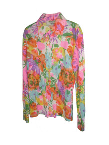 Vintage Norton's Point Vibrant Multicolor Floral Print Psychedelic Hippie Boho Disco Mod Buttoned Shirt