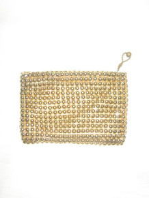 Vintage Whiting & Davis Gold Metal Mesh Zippered Coin Purse Wallet