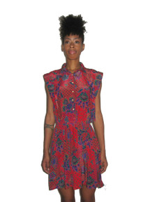 Vintage Red Multi-Color Floral Paisley Print  Short Mini Pleated Secretary Dress