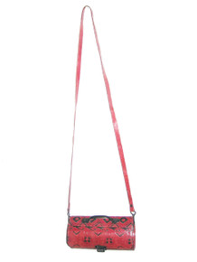 Vintage Made In India Genuine Leather Multi-Color Printed Cross Body Barrel Handbag
