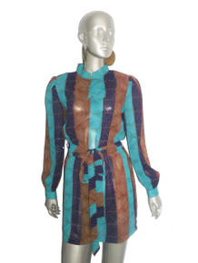 Vintage Leslie Fay Multi-color Leaf Print Overlay Collar Short Mini Belted Secretary Dress