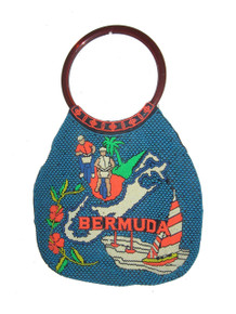 Vintage Made In Hong Kong Black Multicolor Beaded Brown Double Handle Shopper Tote Bermuda Handbag