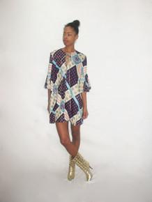 POYZA One Of A Kind Multi-Color Patchwork Print Vintage Fabric Made Key Hole Tie Ruffle Flounce Sleeve Short Boho Dress