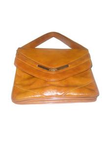 Vintage Tan Gold Metal Flap Closure Multi Compartment Shoulder Strap Hippie Boho Disco Mod Vinyl Handbag