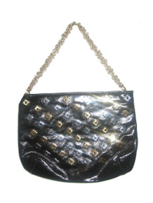 Vintage  Triangle New York Black Vinyl Silver Gold Square Studs Chain Strap Handbag