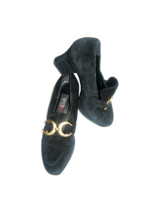 Vintage Wild Pair Black & Gold Suede Chunky High Heel Mary Jane Oxford Shoes