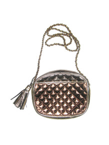 Vintage Italian Leather Multicolor Metallic Copper Bronze Pewter Gold Zippered Quilted Tassel Fringe Cross Body Handbag
