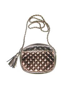 Vintage Italian Leather Multicolor Metallic Copper Bronze Pewter Gold Zippered Quilted Tassel Fringe Cross Body Handbag