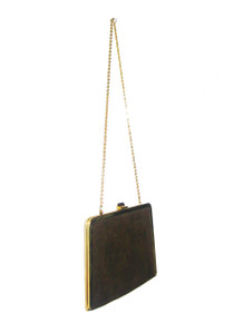 Vintage Etra Brown Gold Clasp Closure Envelope Compartment Chain Strap Suede Mod Disco Handbag