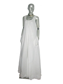 POYZA Signature White Cotton Voile  Sleeveless Long Flared Pocket Multifunctional Bridesmaid Wedding Jumper Dress Size Small-Extra Large Made To Order