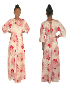 Sale POYZA Red & White Floral Print Cotton Voile V-Tie Back Wide Leg Palazzo Kimono Sleeve Jumpsuit