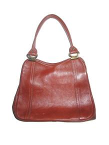 Vintage Cognac  Double Handle Compartment Hippie Boho Mod Leather Handbag