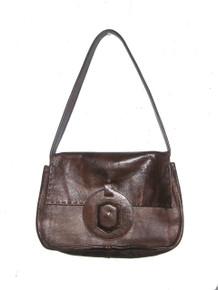 Vintage Jean Fogel Paris New York Brown Flap Closure  Hippie Boho Mod Shoulder Leather Handbag