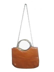 Vintage Cute Little Tan Gold Double Handle Chain Strap Vinyl Handbag