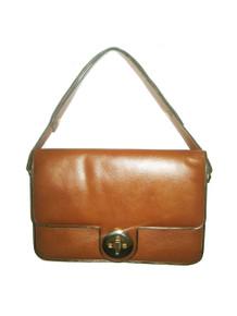 Vintage Tan Gold Turnlock Flap Closure Shoulder Strap Compartment Cuera Vaca Leather Mod Handbag