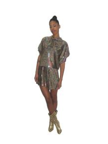POYZA Metallic Multi-Color Sequins Dots Ruffle Flounce Tie Neck Disco Romper Jumpsuit