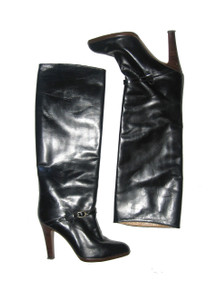 Vintage Stunning Abraham Strauss Made In Spain Black Buckled Harness Tall Above Knee High High Heel Leather Boho Boots