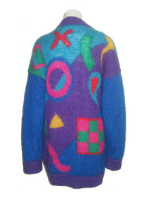 Vintage Vibrant Multi-Color Tic Tac Toe Checker Game Pattern Long Slouchy Oversize Sweater Cardigan