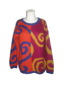 Vintage The Limited Vibrant Multi-Color Swirly Color Block Pattern Slouchy Oversize Pullover Sweater