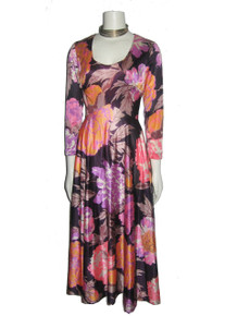 Vintage Stunning Multi-Color Big Floral Print Psychedelic Scoop Neck Disco Mod Boho Fit & Flared Long Dress