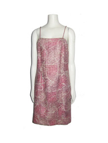 POYZA One Of A Kind Vintage Pink Metallic Gold Strappy Short Silk Dress