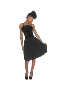 Vintage Black Elastic Sequins Tube Ruffled Chiffon Gathered Strappy Dress