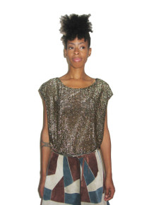 Vintage Black  Metallic Gold Lame Lurex Extended Cap Dolman Sleeve Tunic Blouse Top