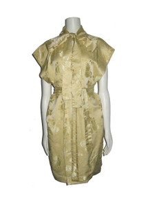 POYZA Re-designed Vintage Metallic Gold Yellow Floral Brocade Unconstructed Multi-Functional Tie Neck Belted Wrap Dress Robe Jacket