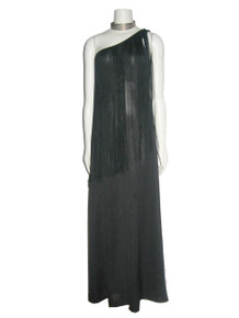 Vintage Stunning Black Asymmetrical One Shoulder Long Overlay Fringe Trim Grecian Disco Mod Wide Leg Palazzo Hostess Dress Jumpsuit