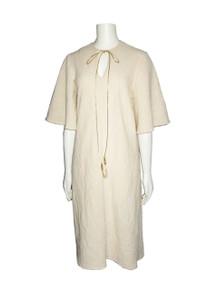 POYZA Natural Textured Cotton Metallic Gold Beaded Tassel String Tie Neck Bell Sleeve Caftan Dress