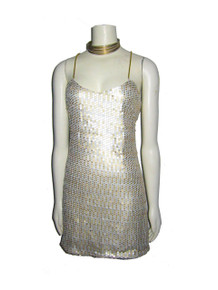 POYZA One Of A Kind Gold Silver Sequins Metallic Gold Cord Strappy Cross Back Short Mini Dress