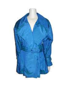 Vintage Contempo Casuals Blue Buckled Belted Multi-functional Wrap Short Dress Trench Jacket