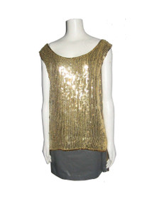 Vintage Gold Sequins Beads Sleeveless Scoop Neck Tunic Blouse Top