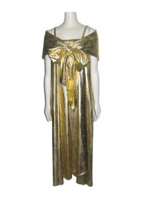 Vintage Metallic Gold Strappy Tube Wrap Bow Tie Dress