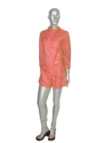 Vintage Pink Multi-Color Paisley Floral Print Mod Playsuit Romper Jumpsuit