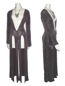 Vintage Rare Grey Silver Sparkling Glitter Plunging V-Neck Multi-Gore Long Slits  Disco Stretch Knit Slinky Jumpsuit