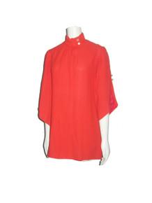 Vintage Red Pointed Hem Fan Sleeve Short Micro Mini Mod Dress