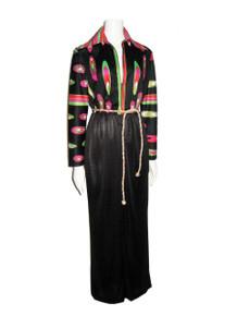 Vintage Artemis Multi-Color Psychedelic Print Black Color Block Long Mod Dress