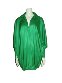 Vintage Green Multi-Functional Dolman  Zippered Sleeve Blouson Tunic Mini Dress