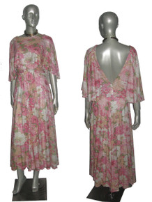 Vintage Absolutely Stunning Multi-Color Pastel Floral Print Metallic Silver Lurex Sparkle Overlay Flounce Collar Long Flared Disco Mod Dress w/ Sash Belt