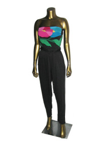 Vintage Black Multi-Color Appliqued Patchwork Strapless Tube Top Disco Stretch Knit Bodysuit Jumpsuit w/ Belt