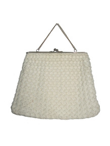 Vintage Off White Macrame Crochet Chain Handle Metal Clasp Closure Hippie Boho Large Handbag