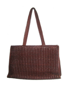 Vintage Cem Hippie Boho Brown Large Woven Zippered Compartment Leather Tote Handbag