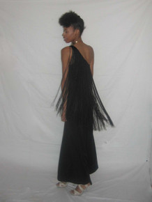 Vintage Absolutely Stunning Black Asymmetrical One Shoulder Long Overlay Fringe Trim Grecian Disco Mod Wide Leg Palazzo Hostess Dress Jumpsuit