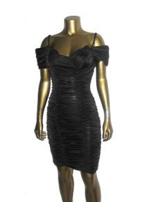 Vintage Zum Zum Shirrred Draped Ruched Strappy Off Shoulder Bodycon Fitted Short Mini Grunge Dress