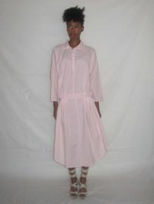 Vintage Norma Kamali Pink White Vertical Horizontal Stripe Avant Garde Drop Waist Curved Hemline Dress