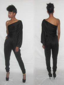 Vintage Climax By David Howard Black Asymmetrical One Shoulder Draped Overlay Sequins Disco Jumpsuit