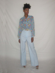 Vintage Time And Place NWT Light Blue High Waist  Wide Leg Bell Bottom Disco Pants