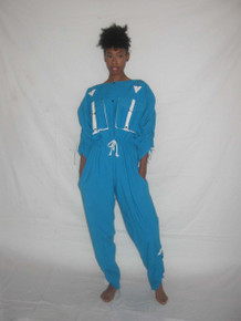Vintage Alfredo Moro Turquoise White Shirred Zipper Pockets Drawstring Waist Parchute Avant Garde Overall Snap Closure Jumpsuit